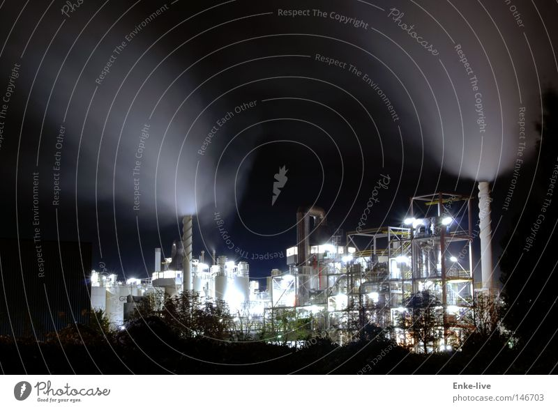 Working at night Clouds Light Night Dark Spectacle Lighting Transmission lines Long exposure Industry Steam Chimney Tower Work and employment Company Iron-pipe