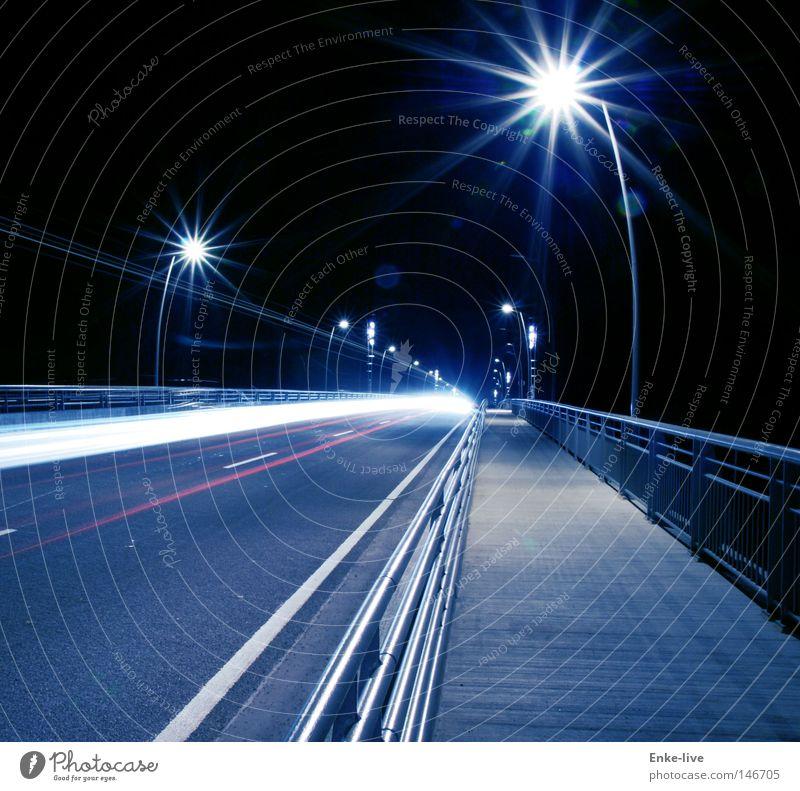 Dark Car Lighting Bridge Sidewalk Handrail Night Street lighting Divide Motorsports Car lights
