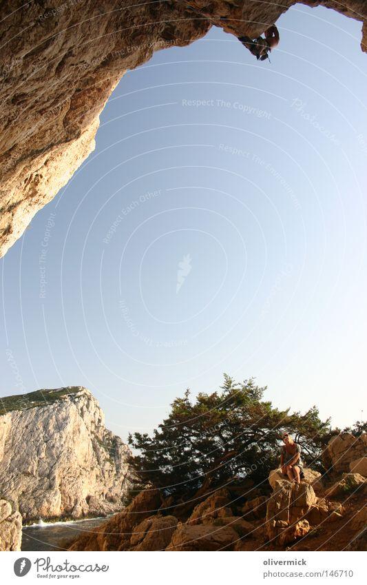 Sky Ocean Joy Happy Rock Island Rope Break Climbing Brave Hang Door handle Mountaineering Mountaineer Thrill Cave
