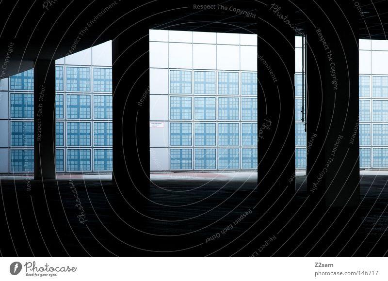 Blue Black Dark Building Concrete Modern Roof Gate Box Entrance Progress Futurism Reduce Access