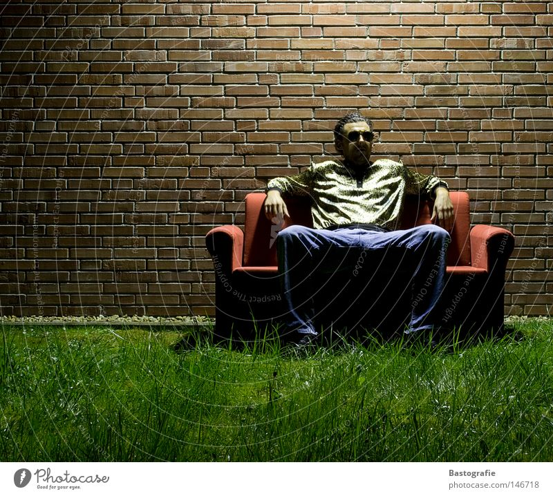 Human being Man Dark Meadow Grass Wall (barrier) Line Funny Feasts & Celebrations Sit Crazy Posture Sofa Living room Idea Sunglasses