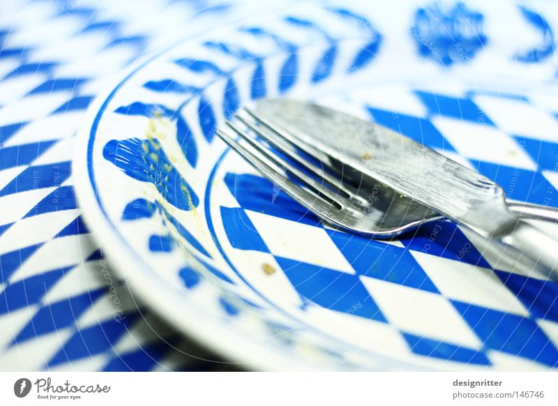 Blue Colour White Feasts & Celebrations Nutrition Empty Table Plate Bavaria Knives Alcohol-fueled Past Tablecloth Cutlery Oktoberfest Full