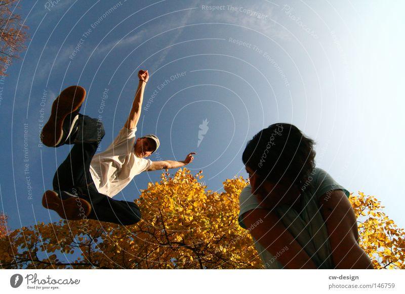 Human being Woman Sky Man Tree Sun Summer Joy Leaf Calm Yellow Feminine Autumn Playing Jump Bright