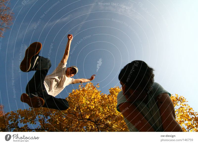 Pure joie de vivre Tree Autumn Woman Man Masculine Feminine Playing Body tension Leisure and hobbies Calm Human being Fellow Light Shadow Beautiful weather Jump