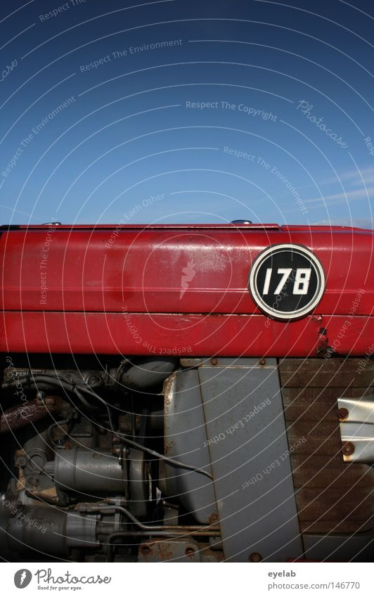 POWER 178 Tractor Agriculture Machinery Power Engines Gasoline Diesel Red Tin Steel Barbecue (apparatus) Radiator  grille Digits and numbers Typography Round