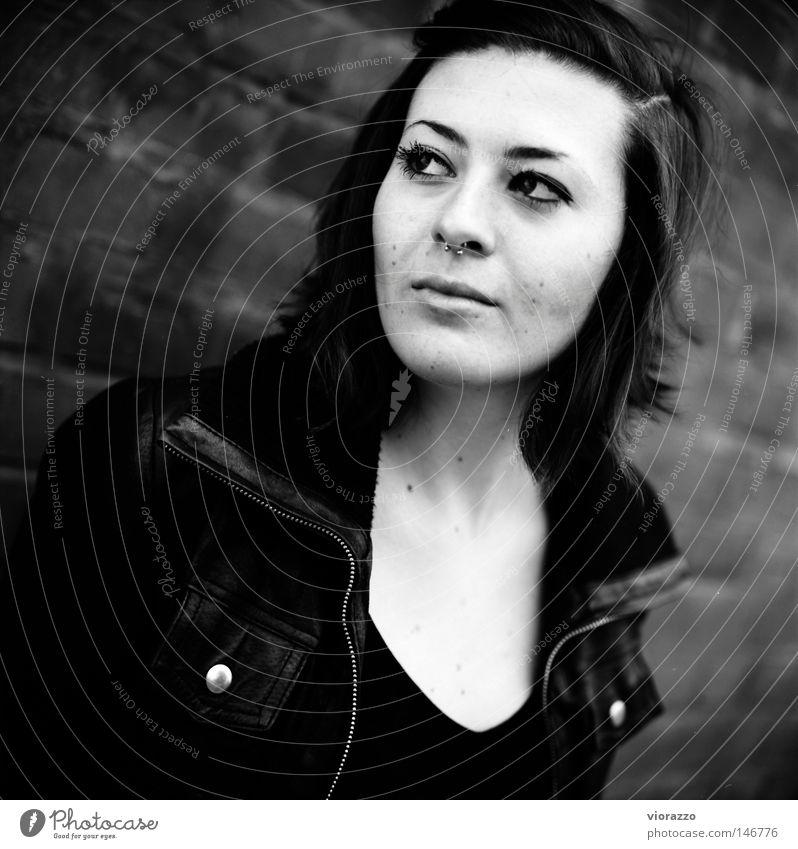 non. Jacket Leather jacket Autumn Black & white photo Brick Brick wall Portrait photograph Violet plants Analog Cheek Eyelash Long Hair and hairstyles Haircut