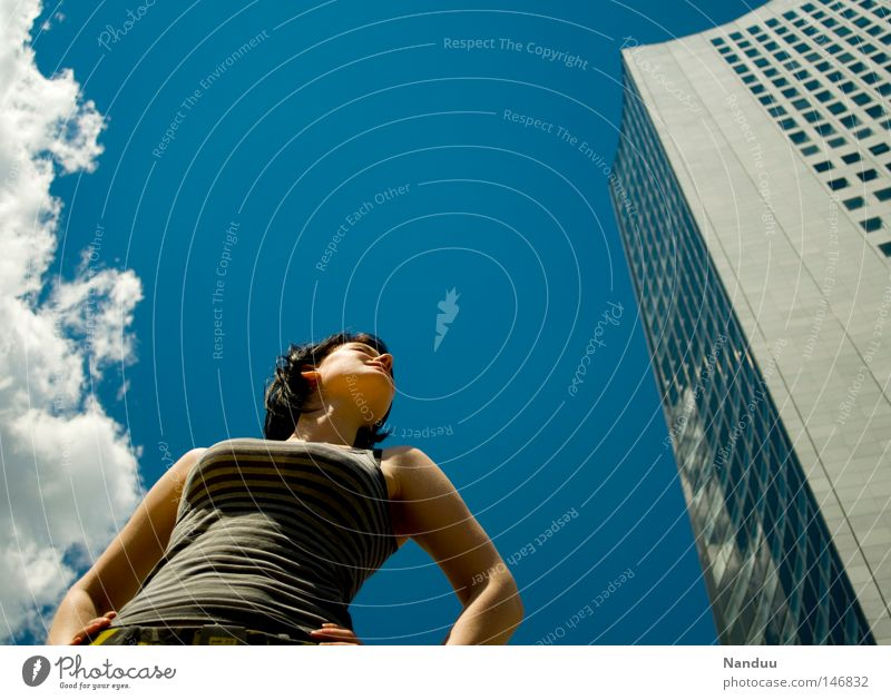 Woman Human being Youth (Young adults) Sky Summer Clouds Power Architecture Germany High-rise Posture Target Brave Strong
