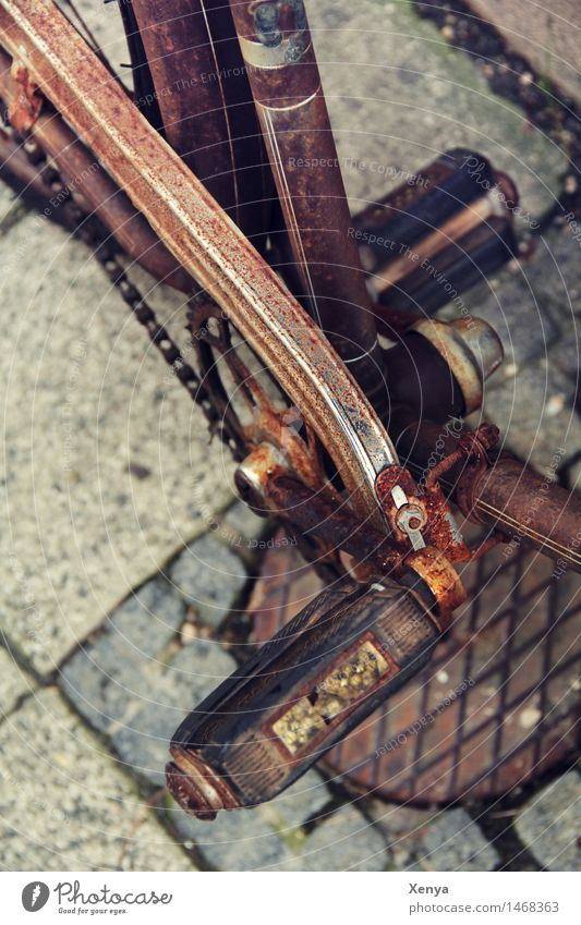 Retro bicycle pedal Bicycle Metal Rust Brown Nostalgia Old Pedal Exterior shot Deserted Day Colour photo Detail Subdued colour Shallow depth of field