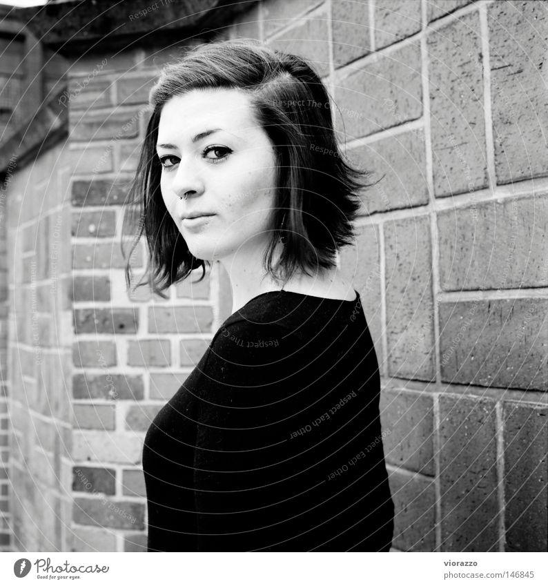 heureka. Autumn Black & white photo Brick Brick wall Portrait photograph Violet plants Analog Cheek Eyelash Long Hair and hairstyles Haircut Back vio