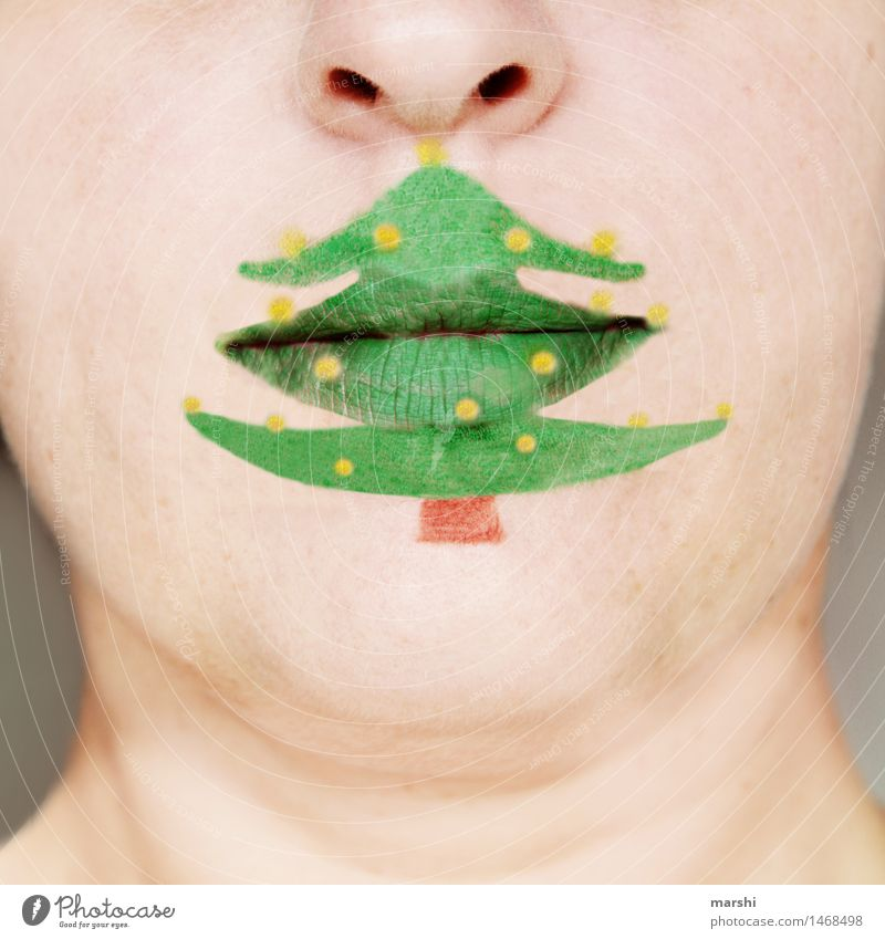 ohhhh fir tree Human being Mouth Lips 1 Sign Emotions Moody Contentment Anticipation Fir tree Christmas & Advent Christmas tree Painted Make-up Green