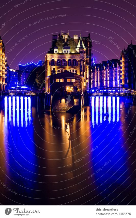 Blue in Blue Hamburg Harbour storehouse city Brick clinker Water Old town Red Dark Night Evening Sky Nostalgia nostalgically on one's own Tourist Moated castle