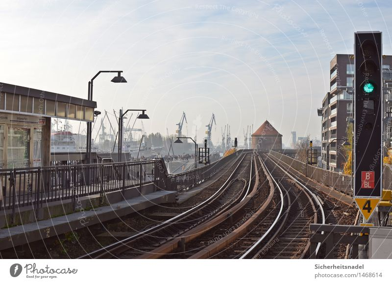 Baumwall Station Port City Industrial plant Factory Train station Harbour Manmade structures Architecture railway tracks Transport Means of transport