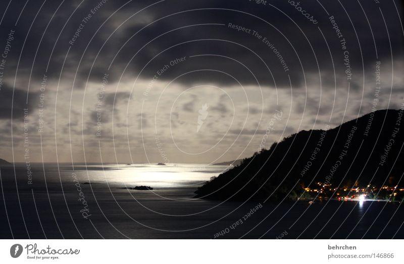 The moon has risen Seychelles Indian Ocean Honeymoon Clouds Night Romance Dream Vantage point Dream island Light Moonlight Dark Think Physics Beautiful