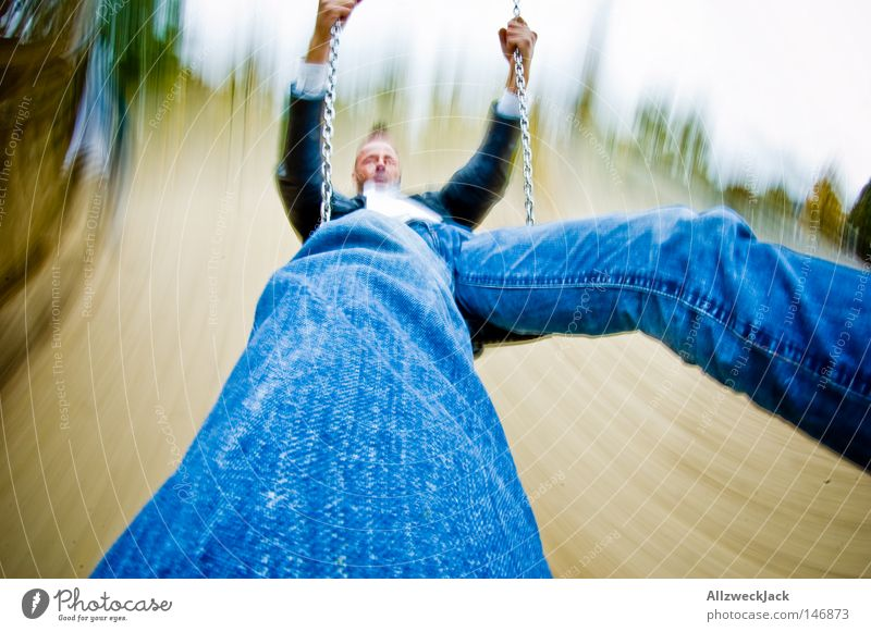 Man Joy Playing Speed Perspective Swing Playground Swing Distorted Romp To swing Toys Extreme sports High spirits Spirited
