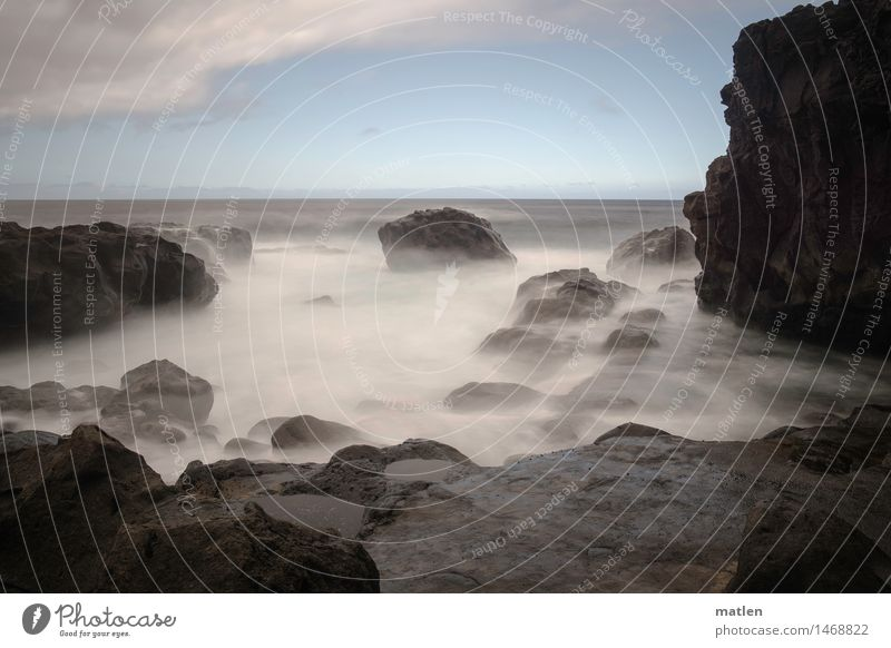 constant dripping wears away the stone Environment Nature Landscape Water Sky Clouds Horizon Weather Beautiful weather Rock Waves Coast Bay Reef Ocean Deserted