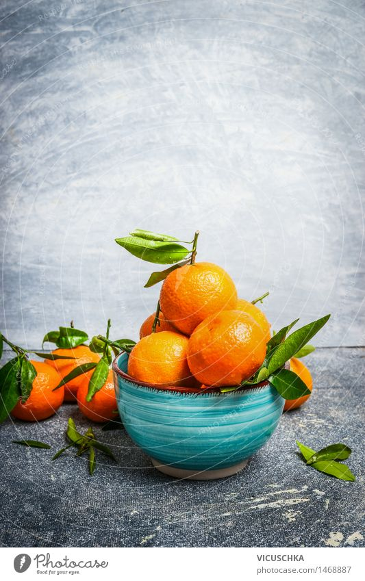 Tangerines with green leaves in the blue bowl Food Fruit Dessert Nutrition Organic produce Vegetarian diet Juice Bowl Style Design Healthy Eating Life Summer