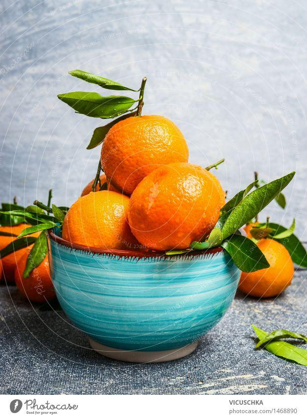 Blue bowl with mandarins Food Fruit Orange Nutrition Juice Bowl Healthy Eating Life Table Nature Yellow Design Style Mandarin Vintage Vitamin Leaf Green Gray