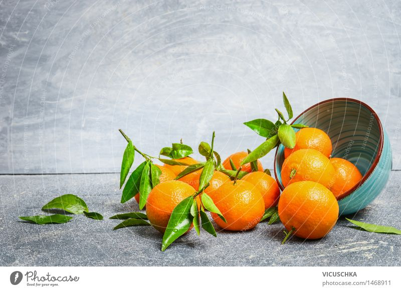 Mandarins with leaves and bowl Food Fruit Orange Dessert Nutrition Organic produce Juice Bowl Healthy Eating Life Table Nature Yellow Design Style