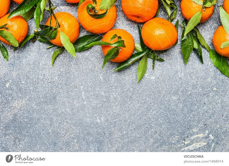 Mandarins with green leaves Food Fruit Orange Nutrition Organic produce Vegetarian diet Diet Juice Healthy Eating Life Table Nature Yellow Design Style