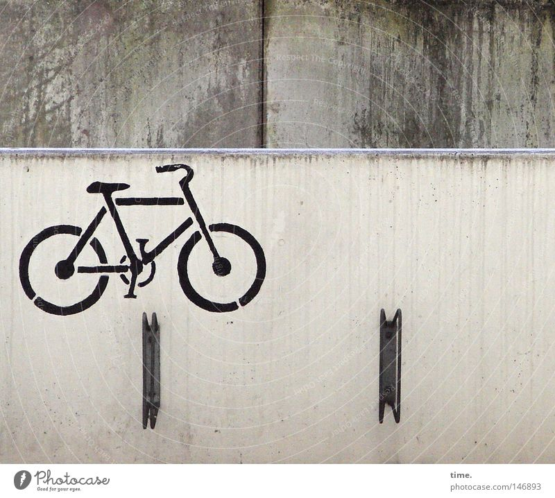 Order is half the life [III] Bicycle Parking garage Transport Concrete Sign Gray Icon Painted Sprayed Bicycle rack Bracket Parking lot Rainwater Wall (building)