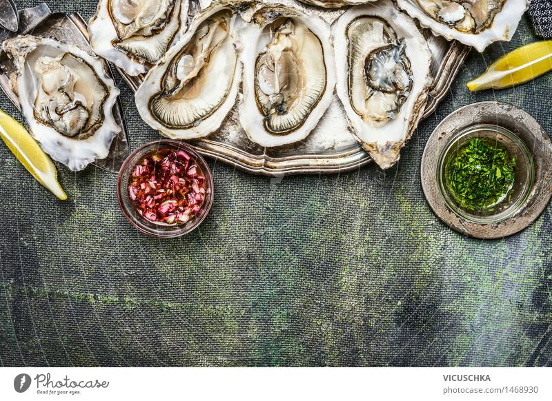 Oysters with lemon and various sauces Food Seafood Cooking oil Nutrition Lunch Dinner Crockery Style Design Healthy Eating Life Table Rose Fresh Plate Dish