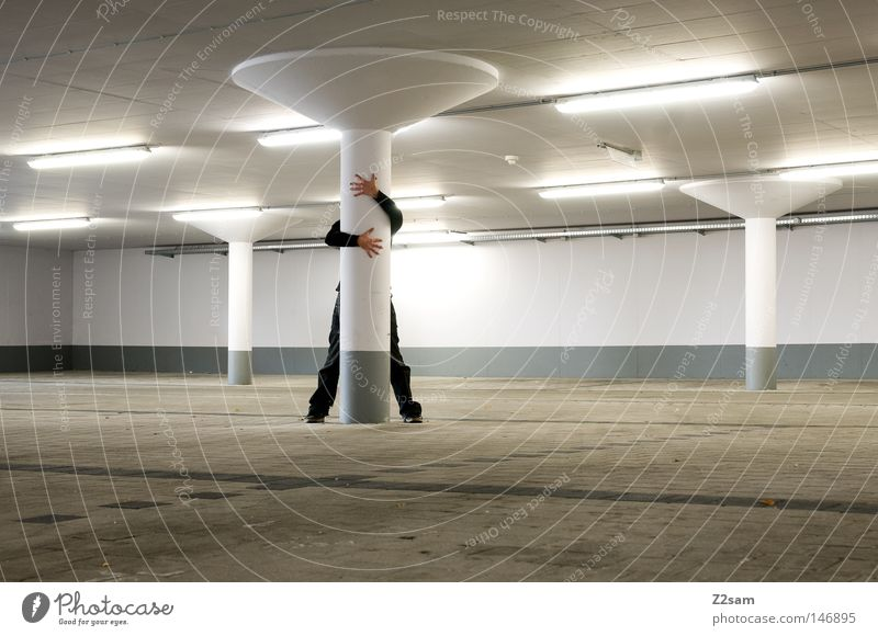 we are not alone Underground garage Man Stand Concealed Futurism Style Light Exposure White Simple Building Garage Parking Like Affection Hand Gray Brown