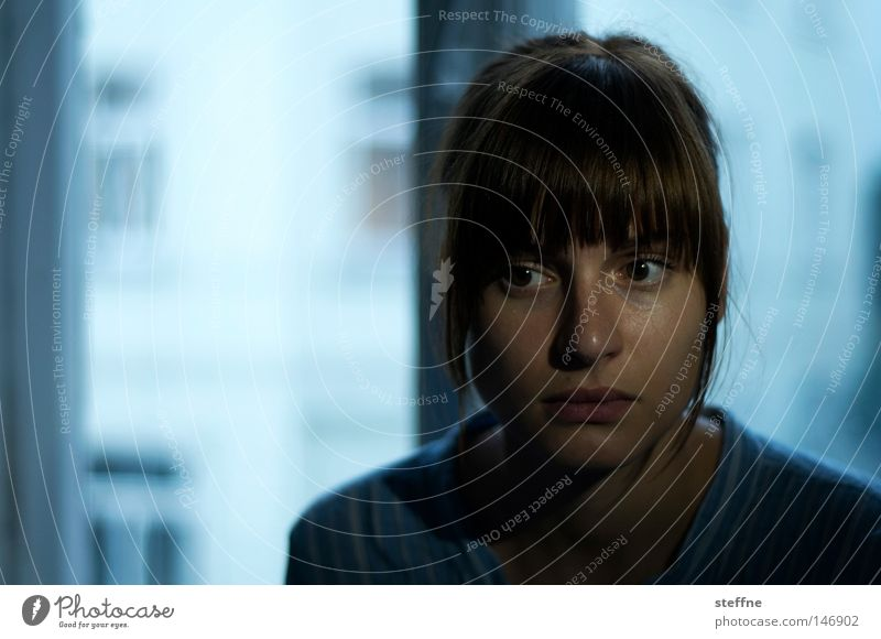scepticism Skeptical Eerie Mysterious Portrait photograph Woman Young woman Dark Ambiguous Expectation Dangerous
