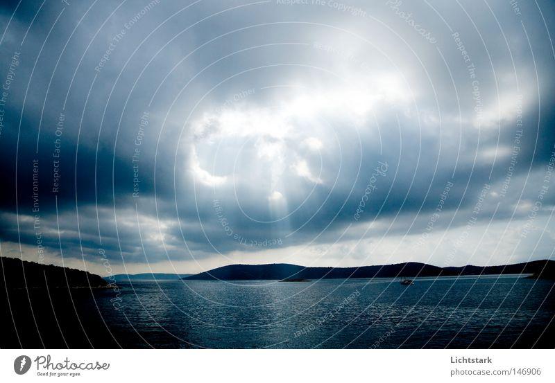 Water Sun Ocean Landscape Clouds Calm Coast Bay Heavenly God Climate change Croatia Phenomenon Beam of light Deities Cloud cover