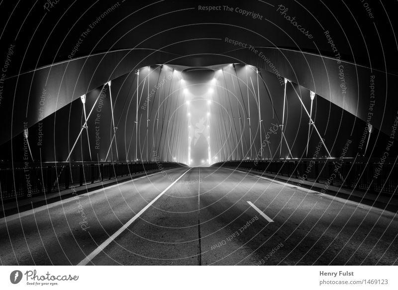 border bridge Architecture Town Outskirts Deserted Bridge Art Long exposure Night Empty Lighting Black & white photo Dark Monochrome nikonic Street life