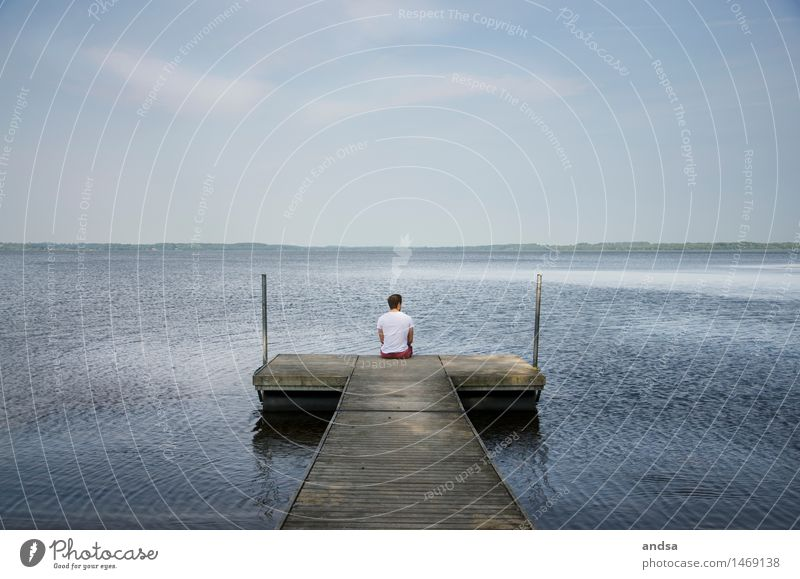 Somewhere in Sweden Human being Masculine Young man Youth (Young adults) Man Adults 1 18 - 30 years Nature Landscape Air Water Sky Cloudless sky Clouds Horizon