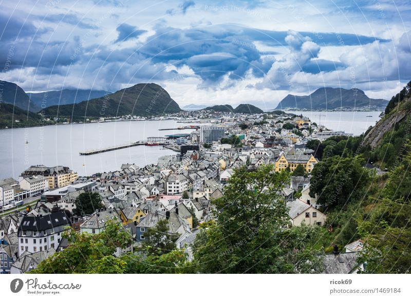 View of Ålesund Vacation & Travel Mountain House (Residential Structure) Nature Landscape Clouds Tree Park Fjord Town Building Architecture Tourist Attraction