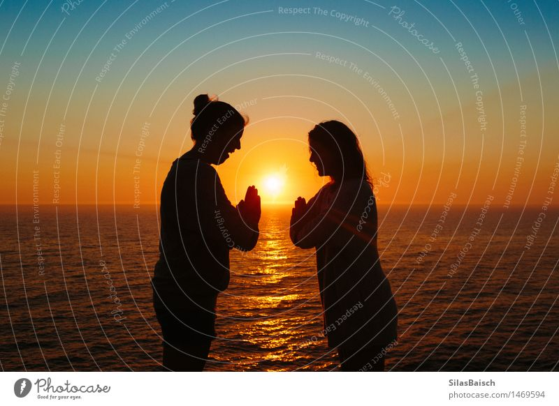 Celebrate the mornings Feminine Young woman Youth (Young adults) Friendship 18 - 30 years Adults Nature Sunrise Sunset Summer Coast Beach North Sea Moody