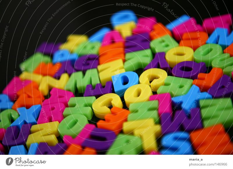 alphabet salad Latin alphabet Multicoloured Colour Magnet Yellow Orange Pink Blue Violet Green Stick Write Word Black Narrow Muddled Icebox Playing Playful