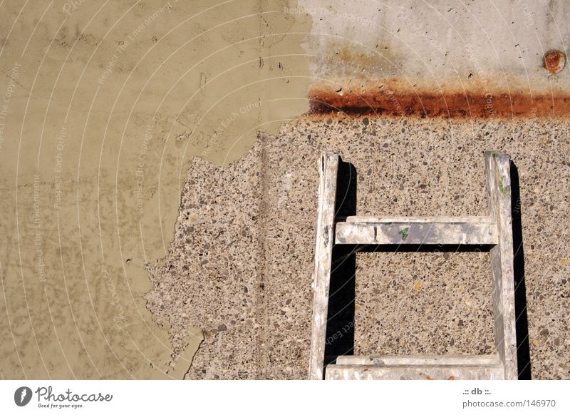 Work and employment Wall (building) Stone Concrete Craft (trade) Rust Ladder Painter Sewage plant