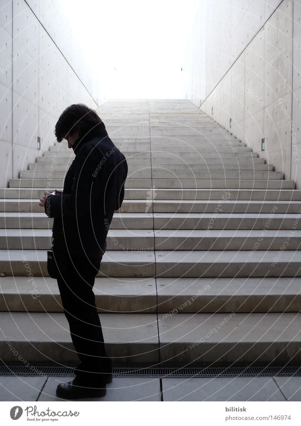 Man Black Far-off places Cold Wall (building) Gray Think Line Bright Architecture Adults Concrete Facade Stairs Modern