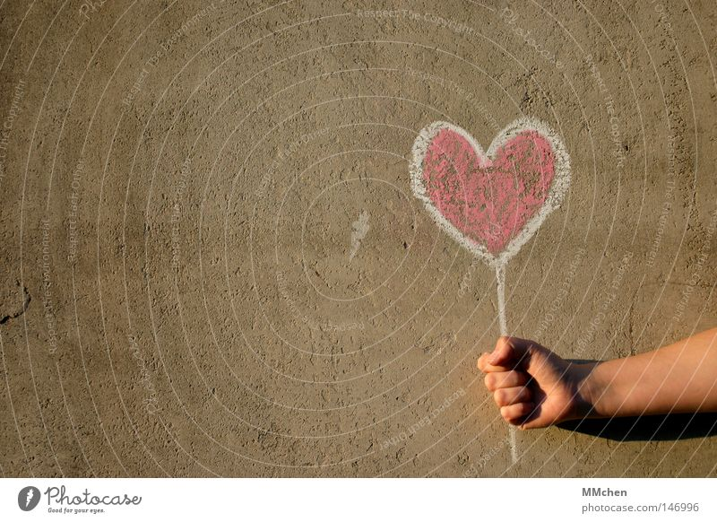 Show your Heart White Hand Red Love Happy Signs and labeling Concrete Signage Indicate Infatuation Painted Blackboard Chalk Valentine's Day Congratulations