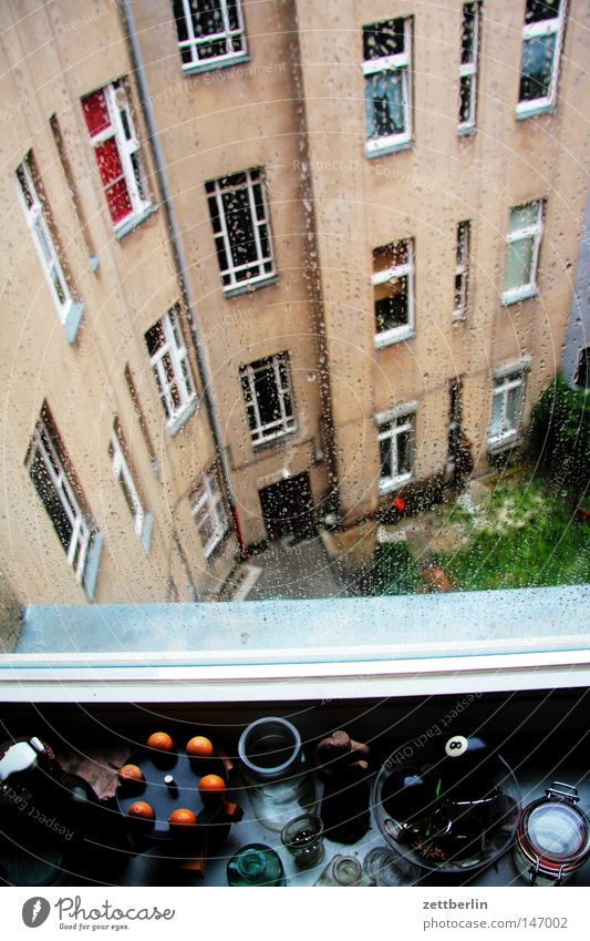 House (Residential Structure) Life Berlin Autumn Window Sadness Building Rain Glass Facade Grief Living or residing Observe Testing & Control Window pane Slice