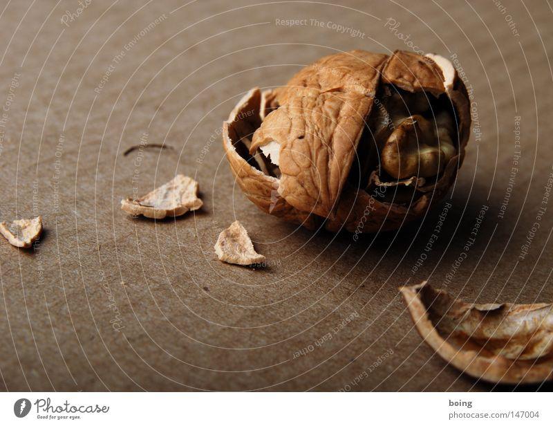 ´ne hard nut cracked Nut Walnut Nutshell Kernels & Pits & Stones Broken Breakage Building rubble Nutcrackers Cardboard Walnut oil Christmas decoration Nutrition