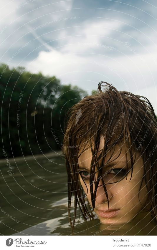 Woman Water Beautiful Summer Face Eyes Cold Head Hair and hairstyles Style Sadness Think Waves Contentment Back Mouth