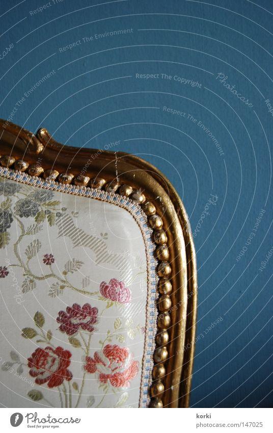antique Precious Ornament Cloth Ancient Furniture Interior shot Chair Gold Backrest Detail Museum Old Castle plain background