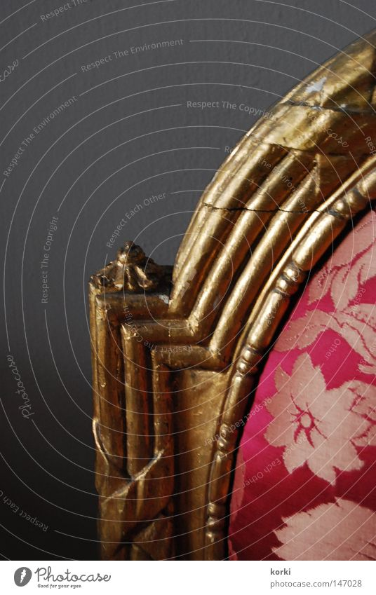 back Precious Ornament Cloth Curlicue Ancient Furniture Interior shot Chair Gold Backrest Detail Museum Old Castle plain background