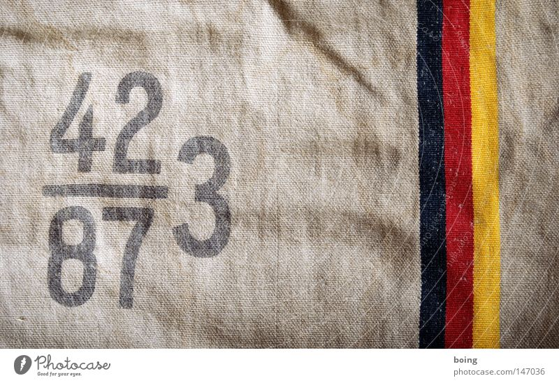 Germany Safety Digits and numbers Trust Federal eagle German Flag Economy Trade Financial Industry Sack Financial Crisis Loose change Illegal earnings Jute sack