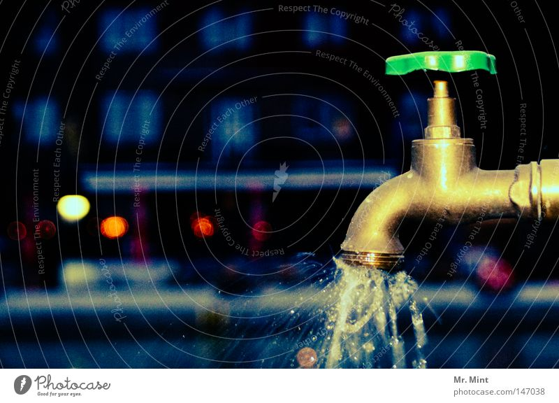 late night drink Water Drinking water Tap Drops of water Metal Metalware Inject Wet Close Closed Channel Fluid Late Evening Night Damp Obscure