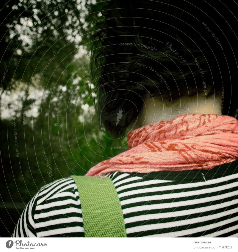 Woman Back Nape Neck Ray Hair Tree Green Red Day Homesickness Industry Sadness
