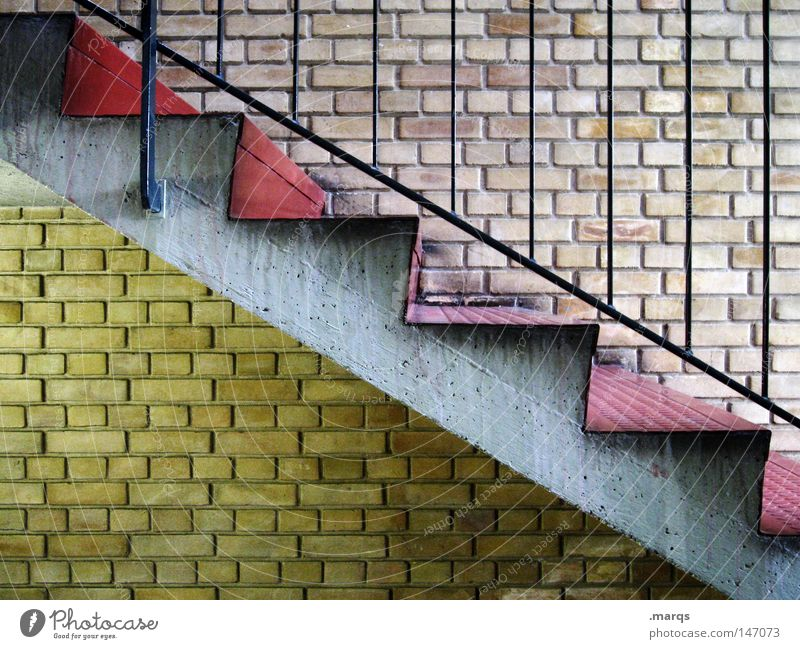 Old Red House (Residential Structure) Yellow Wall (building) Above Gray Wall (barrier) Architecture Stairs Living or residing Upward Handrail Downward Go up