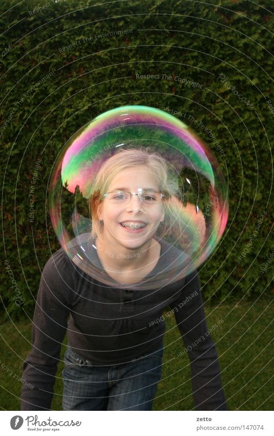 soap bubble Soap bubble Visual spectacle Play of colours Playing Rainbow Face Sphere reflections