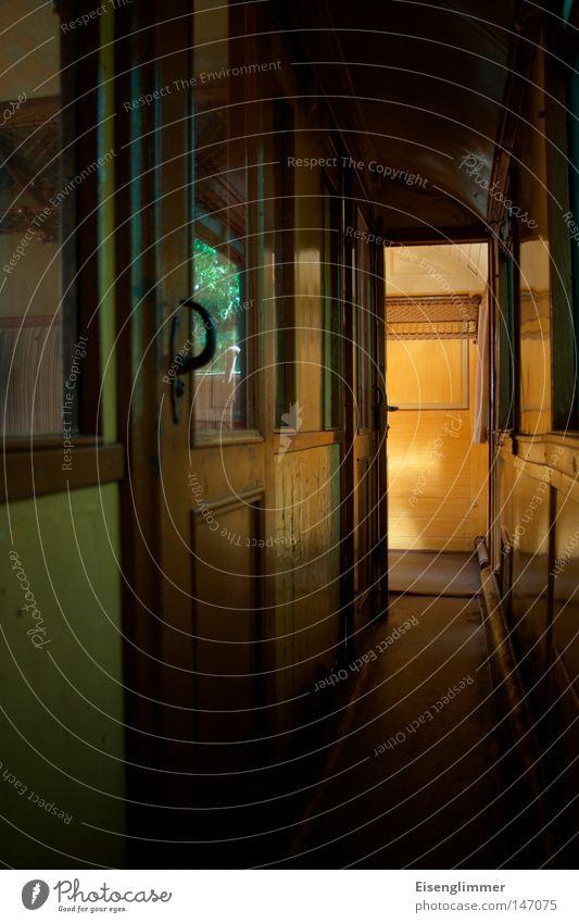 Summer Dark Wood Door Railroad Threat Derelict Discover Historic Nostalgia Pane Shaft of light Train compartment Wooden door Sliding door