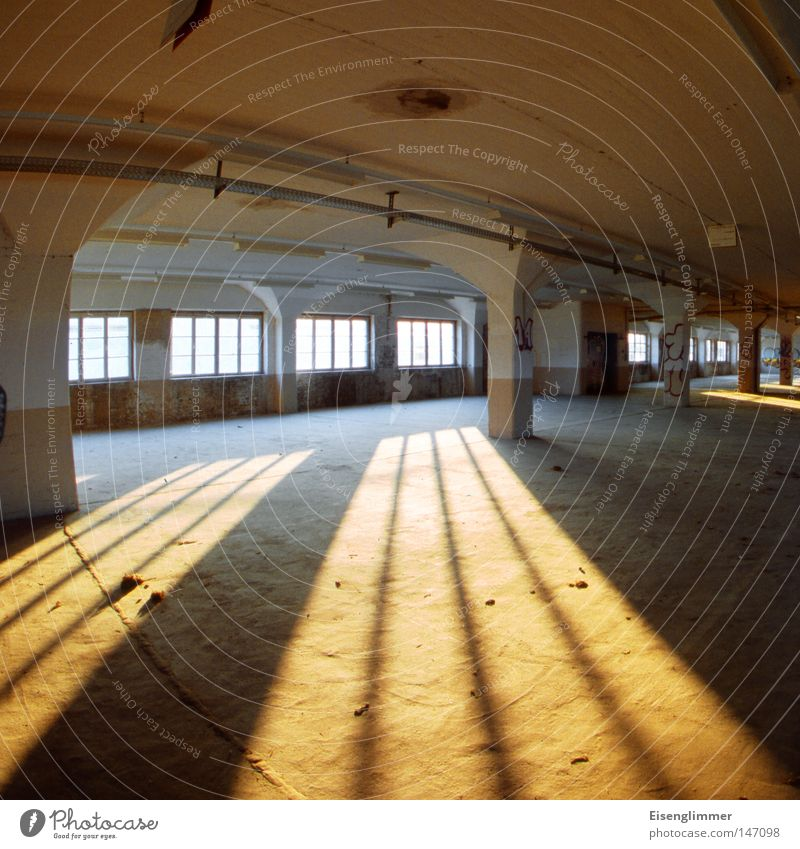 Curved space Room Window Esthetic Exceptional Yellow Column Square Empty Vacancy Derelict Warehouse Evening Light Shadow Deserted Sunlight Shadow play