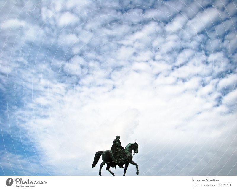 Sky Rider I Semper Opera Dresden Theater square King Old town Clouds Weather Sun Blue Altocumulus floccus Art Arts and crafts  shilling John golden rider