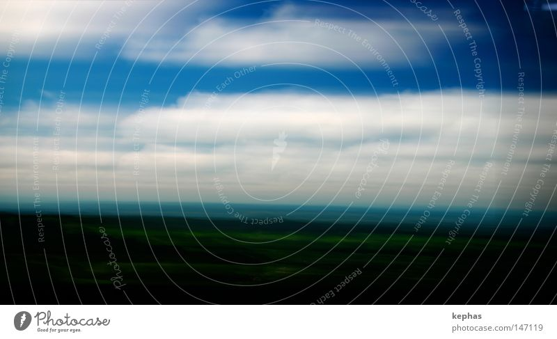 blurred landscape Sky Clouds Hill Green Blue White Landscape Land Feature Screen Speed Transience Past Vacation & Travel Blur